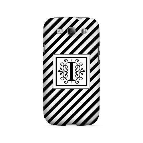 Vintage Vine I On Black Slanted Stripes - Geeks Designer Line Monogram Series Matte Case for Samsung Galaxy S3