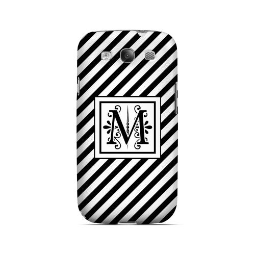 Vintage Vine M On Black Slanted Stripes - Geeks Designer Line Monogram Series Matte Case for Samsung Galaxy S3