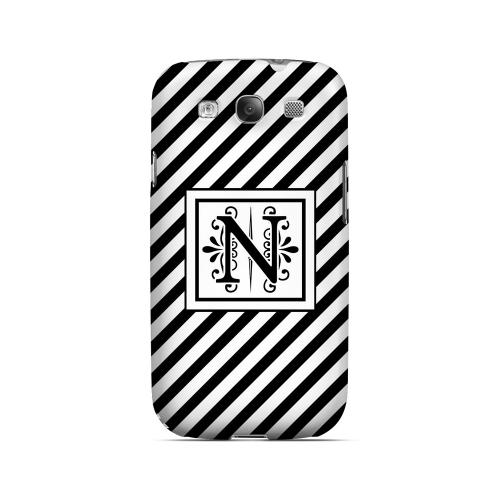 Vintage Vine N On Black Slanted Stripes - Geeks Designer Line Monogram Series Matte Case for Samsung Galaxy S3