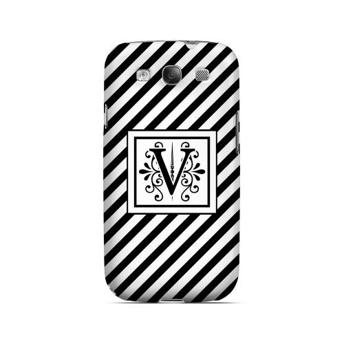 Vintage Vine V On Black Slanted Stripes - Geeks Designer Line Monogram Series Matte Case for Samsung Galaxy S3