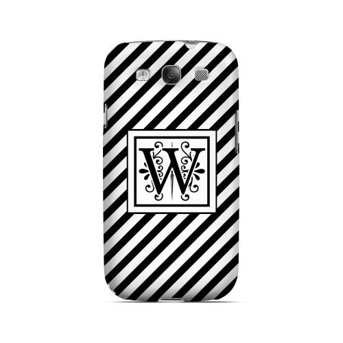 Vintage Vine W On Black Slanted Stripes - Geeks Designer Line Monogram Series Matte Case for Samsung Galaxy S3