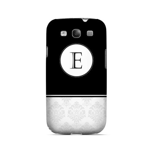 Black E w/ White Damask Design - Geeks Designer Line Monogram Series Matte Case for Samsung Galaxy S3