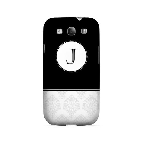 Black J w/ White Damask Design - Geeks Designer Line Monogram Series Matte Case for Samsung Galaxy S3