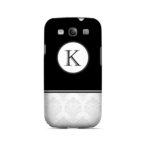 Black K w/ White Damask Design - Geeks Designer Line Monogram Series Matte Case for Samsung Galaxy S3