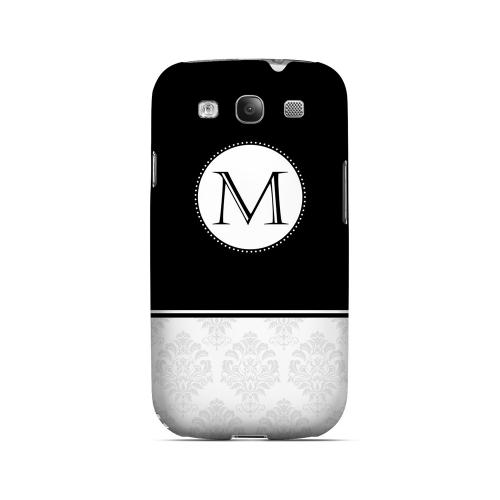 Black M w/ White Damask Design - Geeks Designer Line Monogram Series Matte Case for Samsung Galaxy S3