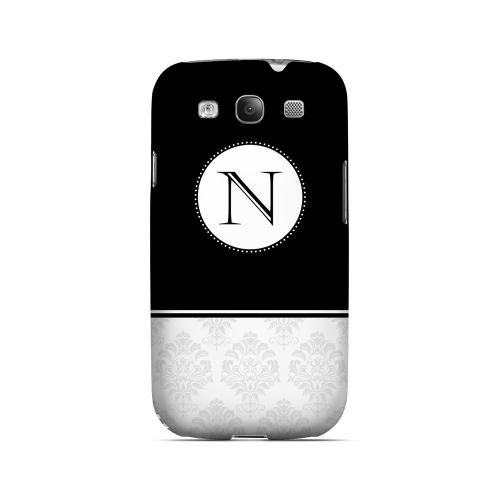 Black N w/ White Damask Design - Geeks Designer Line Monogram Series Matte Case for Samsung Galaxy S3