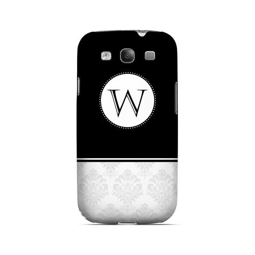 Black W w/ White Damask Design - Geeks Designer Line Monogram Series Matte Case for Samsung Galaxy S3
