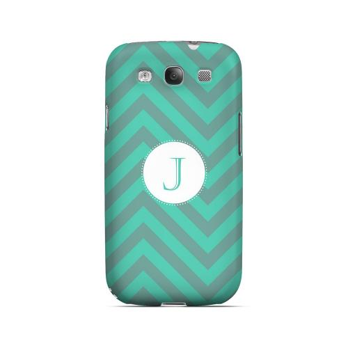 Seafoam Green J on Zig Zags - Geeks Designer Line Monogram Series Matte Case for Samsung Galaxy S3