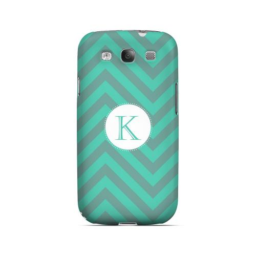 Seafoam Green K on Zig Zags - Geeks Designer Line Monogram Series Matte Case for Samsung Galaxy S3