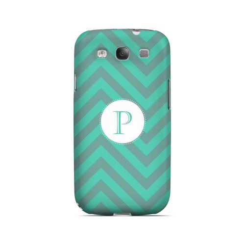 Seafoam Green P on Zig Zags - Geeks Designer Line Monogram Series Matte Case for Samsung Galaxy S3