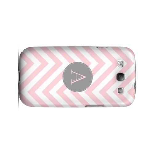 Gray Button A on Pale Pink Zig Zags - Geeks Designer Line Monogram Series Matte Case for Samsung Galaxy S3