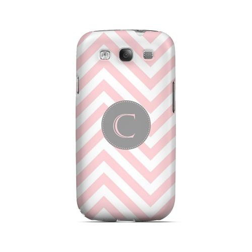 Gray Button C on Pale Pink Zig Zags - Geeks Designer Line Monogram Series Matte Case for Samsung Galaxy S3