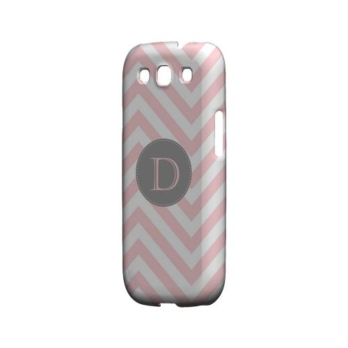 Gray Button D on Pale Pink Zig Zags - Geeks Designer Line Monogram Series Matte Case for Samsung Galaxy S3