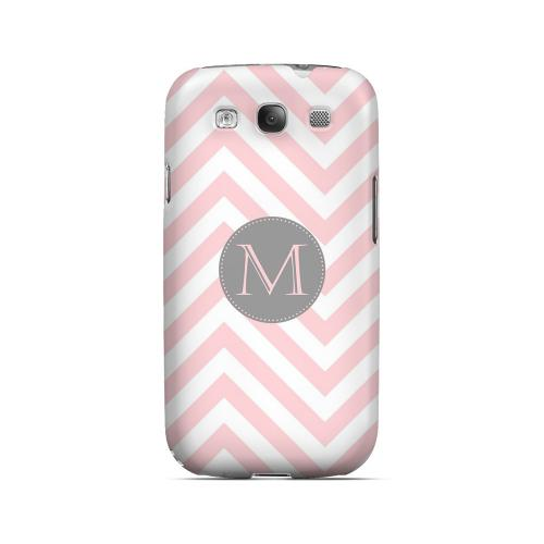 Gray Button M on Pale Pink Zig Zags - Geeks Designer Line Monogram Series Matte Case for Samsung Galaxy S3