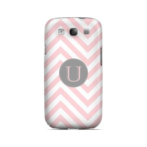 Gray Button U on Pale Pink Zig Zags - Geeks Designer Line Monogram Series Matte Case for Samsung Galaxy S3