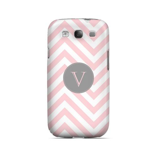 Gray Button V on Pale Pink Zig Zags - Geeks Designer Line Monogram Series Matte Case for Samsung Galaxy S3