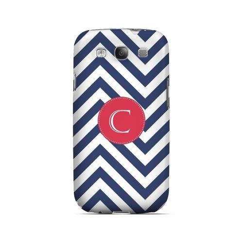 Cherry Button C on Navy Blue Zig Zags - Geeks Designer Line Monogram Series Matte Case for Samsung Galaxy S3