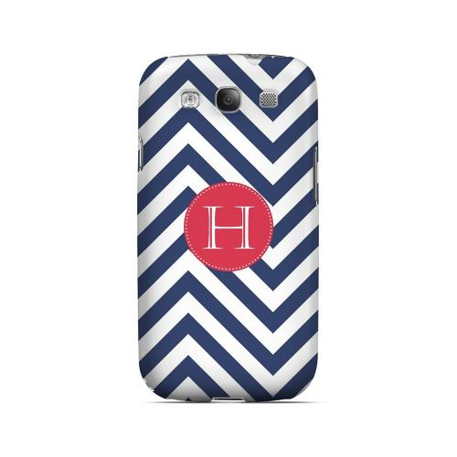 Cherry Button H on Navy Blue Zig Zags - Geeks Designer Line Monogram Series Matte Case for Samsung Galaxy S3