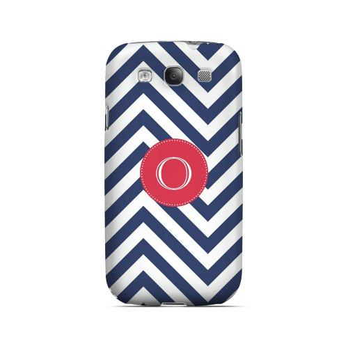 Cherry Button O on Navy Blue Zig Zags - Geeks Designer Line Monogram Series Matte Case for Samsung Galaxy S3