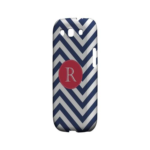 Cherry Button R on Navy Blue Zig Zags - Geeks Designer Line Monogram Series Matte Case for Samsung Galaxy S3