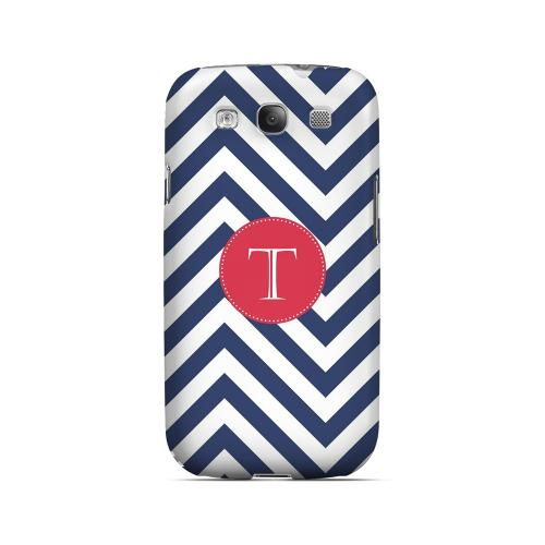 Cherry Button T on Navy Blue Zig Zags - Geeks Designer Line Monogram Series Matte Case for Samsung Galaxy S3