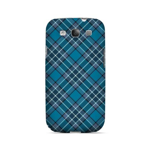 Dark Aqua/ White Plaid - Geeks Designer Line Checker Series Matte Case for Samsung Galaxy S3