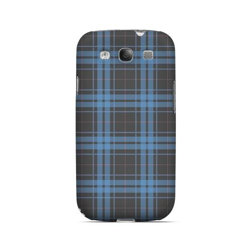 Blue/ Gray/ Pink Plaid - Geeks Designer Line Checker Series Matte Case for Samsung Galaxy S3