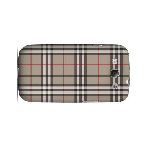 Classic Brown/ White Red Plaid - Geeks Designer Line Checker Series Matte Case for Samsung Galaxy S3