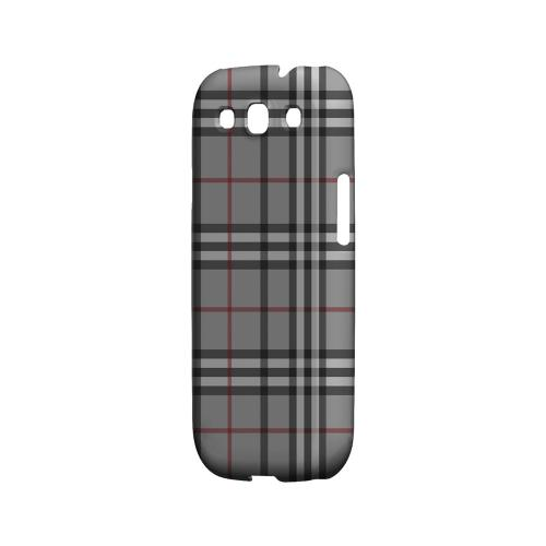 Classic Gray/ White/ Red Plaid - Geeks Designer Line Checker Series Matte Case for Samsung Galaxy S3
