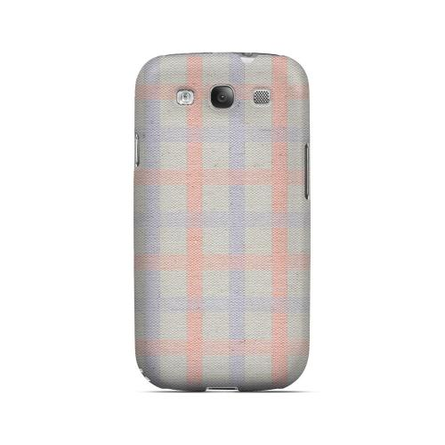 Faint Red/ Blue/ Gray Plaid - Geeks Designer Line Checker Series Matte Case for Samsung Galaxy S3