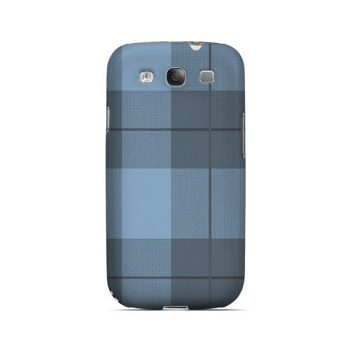 Off-Centered Zoom Blue Plaid - Geeks Designer Line Checker Series Matte Case for Samsung Galaxy S3