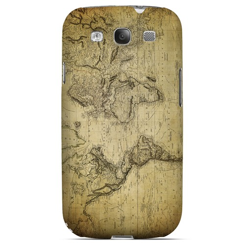 Vintage World Map Circa 1800's - Geeks Designer Line Map Series Matte Case for Samsung Galaxy S3
