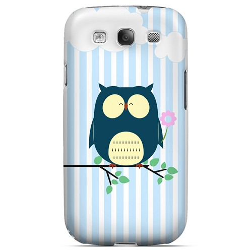 Fat Peaceful Owl on Tree Branch - Geeks Designer Line Owl Series Matte Case for Samsung Galaxy S3