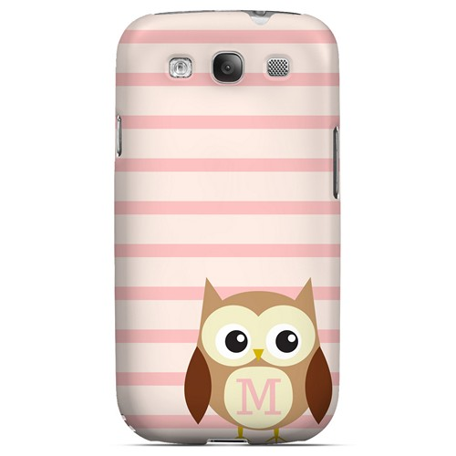 Brown Owl Monogram M on Pink Stripes - Geeks Designer Line Owl Series Matte Case for Samsung Galaxy S3