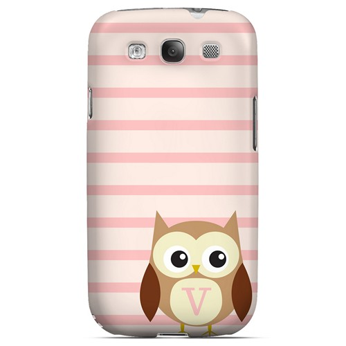 Brown Owl Monogram V on Pink Stripes - Geeks Designer Line Owl Series Matte Case for Samsung Galaxy S3