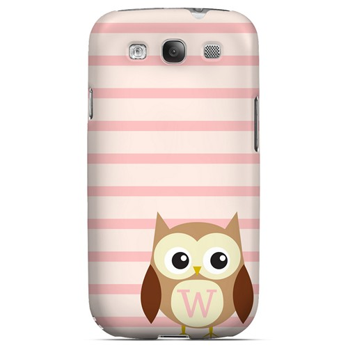 Brown Owl Monogram W on Pink Stripes - Geeks Designer Line Owl Series Matte Case for Samsung Galaxy S3