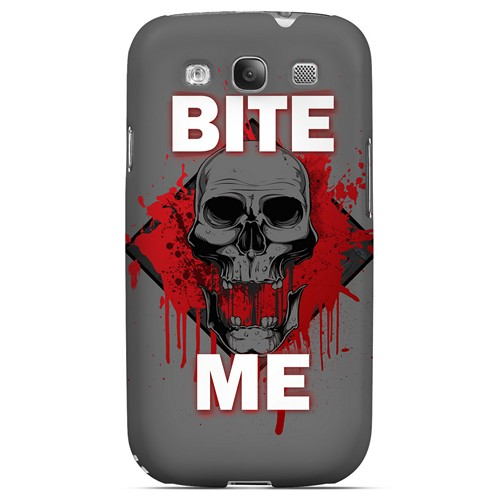 Bite Me on Gray - Geeks Designer Line Apocalyptic Series Matte Case for Samsung Galaxy S3