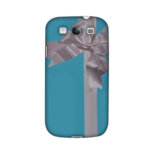 Premium GDL Hard Case for Galaxy S3 High Impact Resistant Glossy White Turquoise Gift w/ White Satin Bow (Geeks Designer Line)