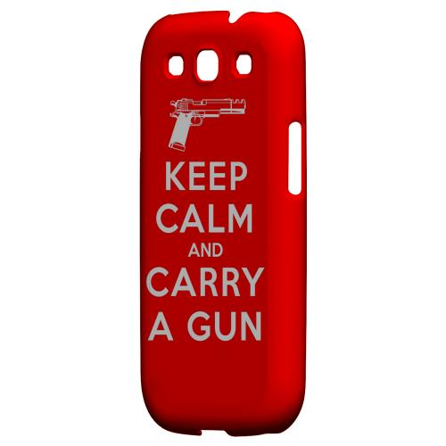 Red Carry A Gun Geeks Designer Line Keep Calm Series Matte Hard Case for Samsung Galaxy S3