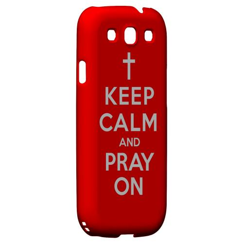 Red Pray On Geeks Designer Line Keep Calm Series Matte Hard Case for Samsung Galaxy S3