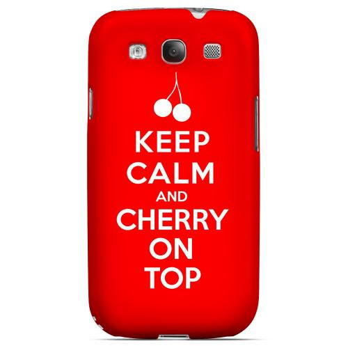 Red Cherry On Top Geeks Designer Line Keep Calm Series Matte Hard Case for Samsung Galaxy S3