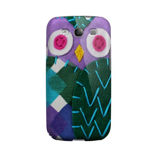 Purple/ Green Owl Geeks Designer Line Sports Series Matte Hard Case for Samsung Galaxy S3