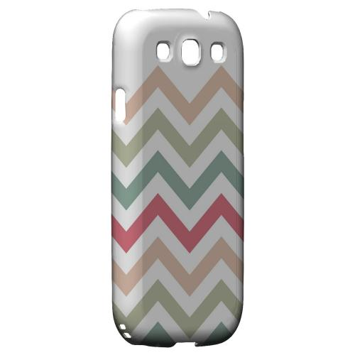 Green/ Red on White Geeks Designer Line Zig Zag Series Matte Hard Case for Samsung Galaxy S3