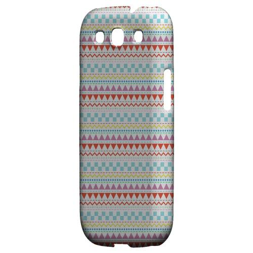 Multi-Shapes & Colors on White Geeks Designer Line Zig Zag Series Matte Hard Case for Samsung Galaxy S3