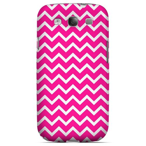 White on Hot Pink Geeks Designer Line Zig Zag Series Matte Hard Case for Samsung Galaxy S3