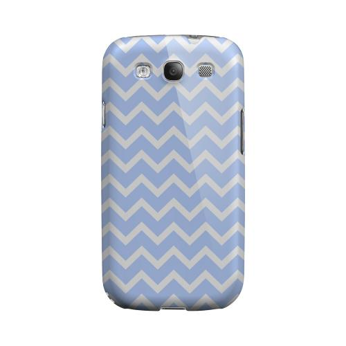 White on Light Blue Geeks Designer Line Zig Zag Series Matte Hard Case for Samsung Galaxy S3