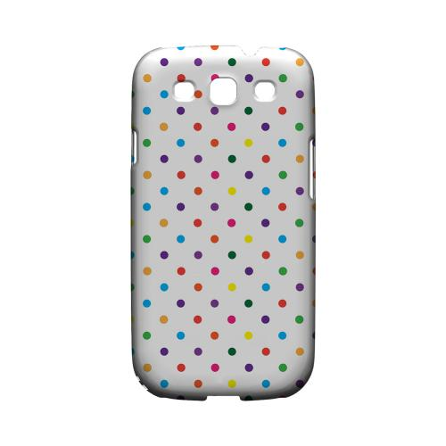 Small & Rainbow on White Geeks Designer Line Polka Dot Series Matte Hard Case for Samsung Galaxy S3