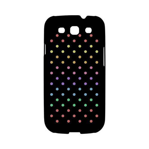 Rainbow Dots on Black Geeks Designer Line Polka Dot Series Matte Hard Case for Samsung Galaxy S3
