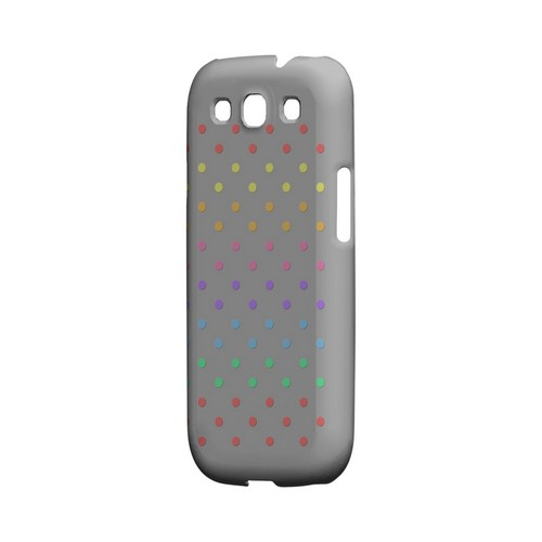 Rainbow Dots on Gray Geeks Designer Line Polka Dot Series Matte Hard Case for Samsung Galaxy S3