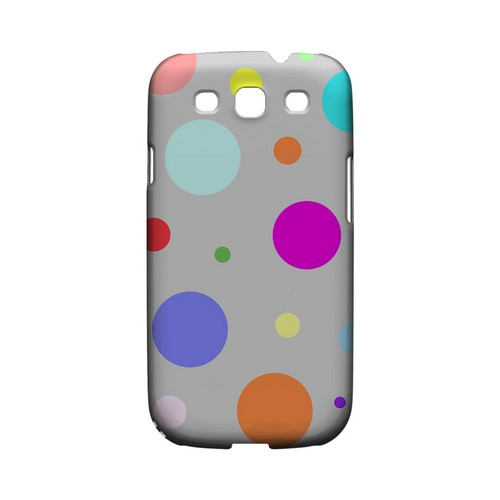 Random & Rainbow on Gray Geeks Designer Line Polka Dot Series Matte Hard Case for Samsung Galaxy S3